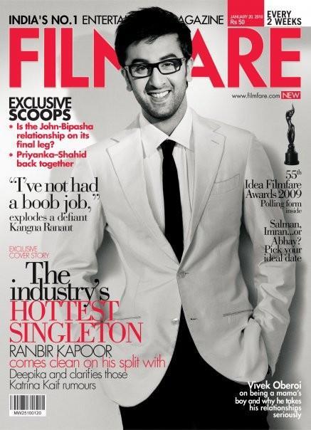Ranbir Kapoor, Bollywoodme, Bollywood Blog, Filmfare Magazine Janvier
