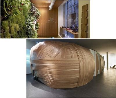 Deux images du spa Six Senses : le mur végétal et les cocons de bois