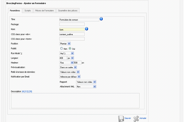 Création d'un formulaire avec BreezingForms
