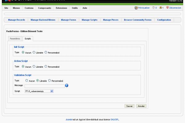 Option de validation admin pour BreezingForms de Joomla