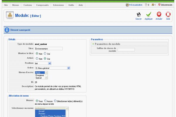 Création de modules pour Joomla