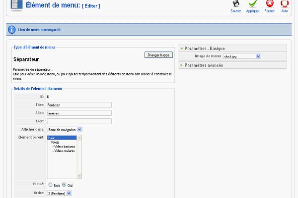 Associer une image à un élément haut de menu dans Joomla1.5