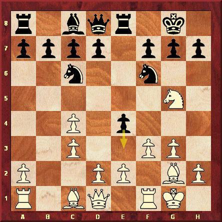 2ème partie. Position après le 9ème coup blanc f2-f3. Kasparov veut éliminer le pion e4 pour disposer d'un puissant centre de pions mais Karpov le surprend par 9...e4-e3, préparé initialement contre Viktor Kortchnoi.