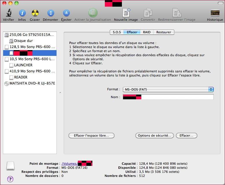 Sony Reader Touch Edition, Mac OS et carte mémoire