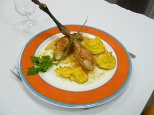 Poulet rôti, pommes duchesse