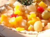 meringue, fruits