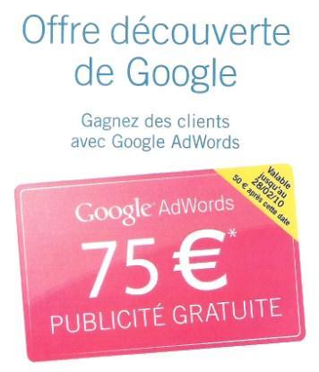 adwords Adwors: 2 codes promotionnelle de 75€ à gagner