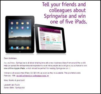 A peine révélées au public, Springwise offre déjà les tablettes iPads de Apple