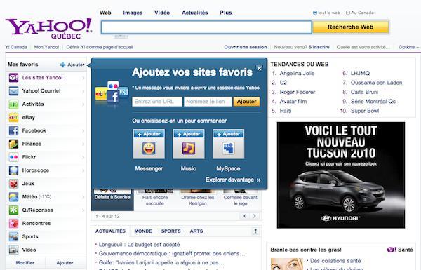 yahoo 1 Yahoo Québec et Canada font peau neuve