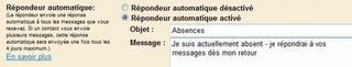 Réponse automatiques en cas d'absence sous Gmail