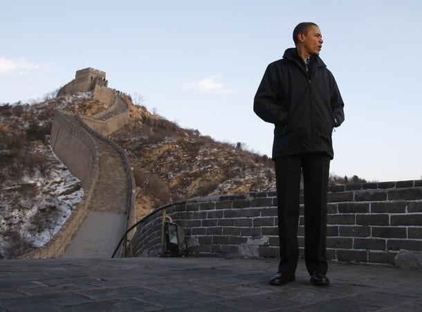 Obama sur la Grande Muraille de Chine