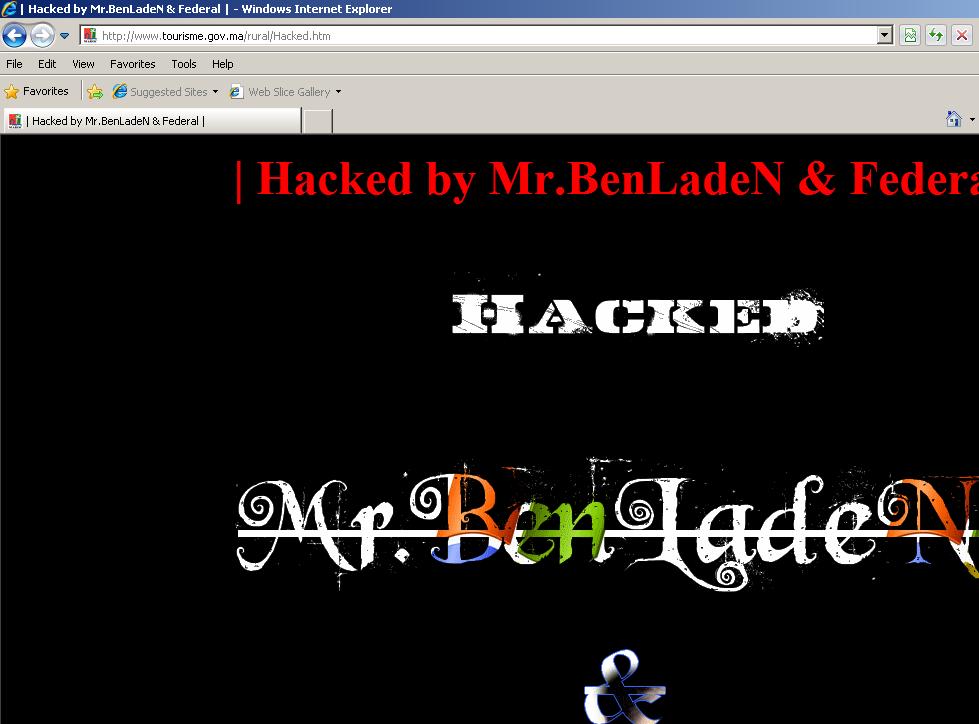 Le Site du ministère du tourisme marocain piraté !