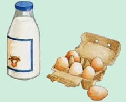 Tube boîte à oeufs et bouteille de lait