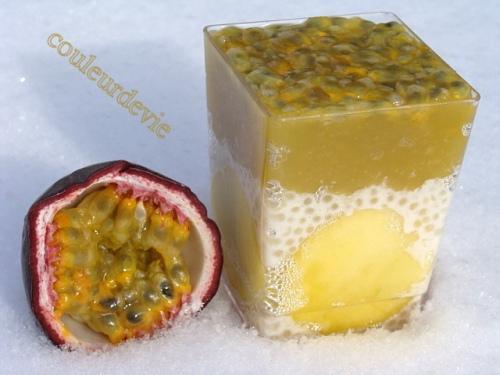 Verrine mangue, perles du japon vanillées et fruits de la passion