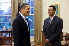 Tiger Woods and Barack Obama in the Oval Office