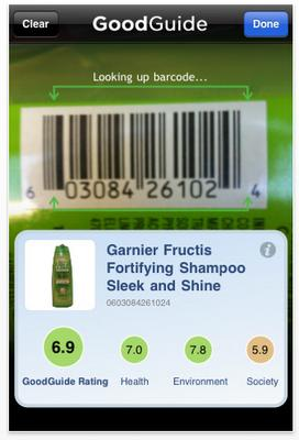 GoodGuide : Scan barcode on 70 000 products for Health, Environment and Society...