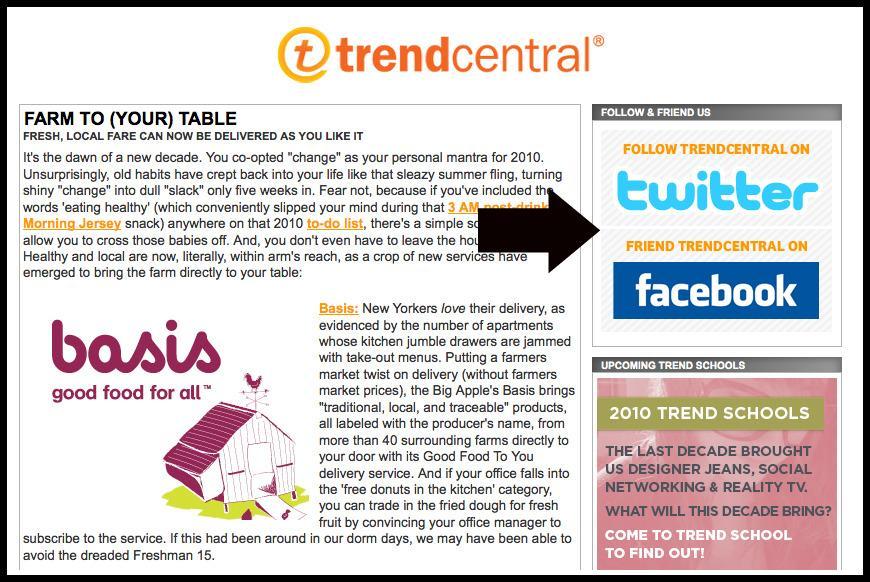 Comme Trendcentral, indiquez votre présence sur les réseaux sociaux