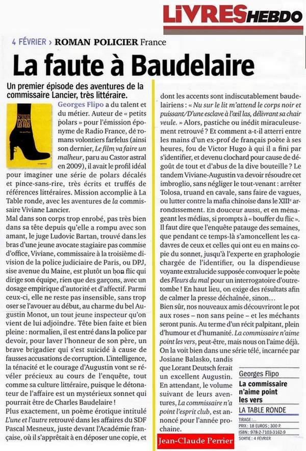 Pour blog B. Livres-Hebdo La commissaire...