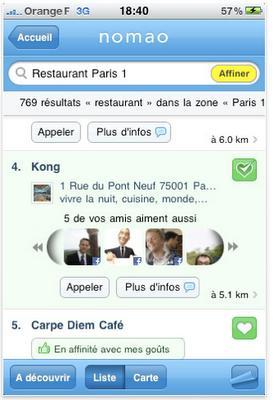 Nomao sur iPhone : moteur de recherche géolocalisé & social en réalité augmentée