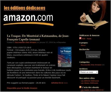 Les livres des éditions Dédicaces diffusés chez Amazon sont disponibles sous une seule adresse
