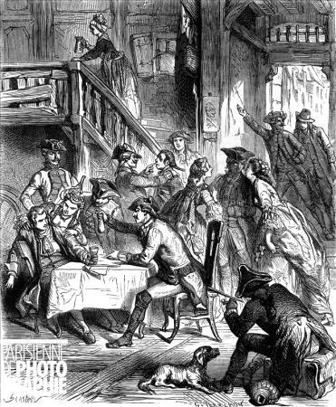 Racoleurs sur le Pont-Neuf. Paris, XVIIIème siècle. Gravure de G. de Perrochon d'après S. Castelli.jpg