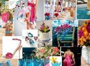 Décoration mariage rose fushia bleu turquoise: thème tropiques, iles vacances