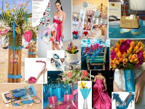 de mariage rose fushia et bleu turquoise: thème tropiques, iles et ...