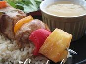 Brochettes volaille sauce ananas
