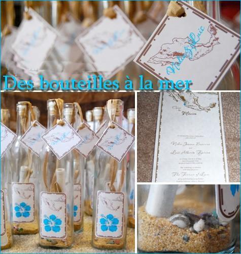Diy des bouteilles jet es a la mer en guise d invitation faire parts voir - Faire part mariage theme mer ...