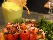 """Salade """"Orchidée"""" mangue gingembre, verrines avocat noix coco soleils d'emmental gratinés! Rien"""