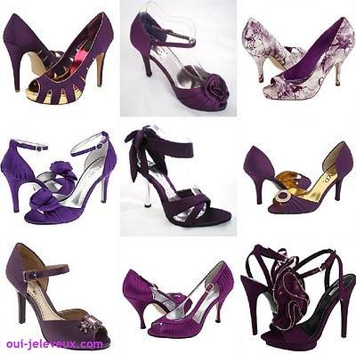 des chaussures de mariage violettes oui je le veux