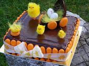 Gâteau Pâques chocolat pêches vignes