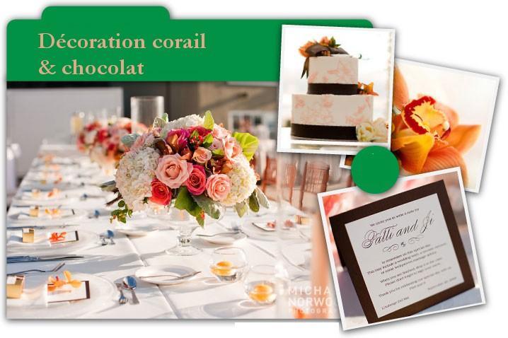 Décoration de mariage corail et chocolat: le mélange improbable