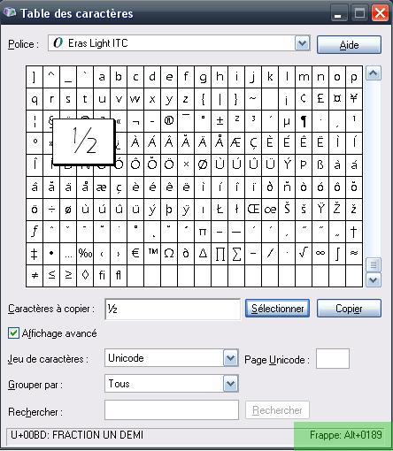 Ins rer des symboles dans les statuts facebook twitter voir - Table des caracteres windows ...