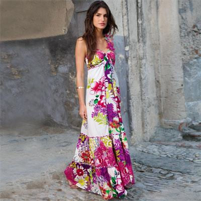 robe longue blanche a fleur - Robe Longue Colore
