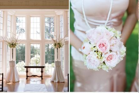 Vrai mariage d coration de mariage vieux rose classique for Decoration maison rose pale