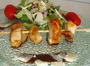 Brochettes poulet mariné miel vinaigre balsamique