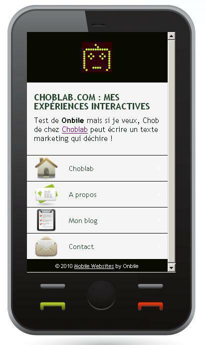 cr er un site mobile gratuit j ai test onbile lire. Black Bedroom Furniture Sets. Home Design Ideas