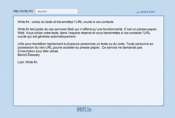 write fm Write.fm : collez du code ou du texte et transmettez l'URL courte à vos contacts