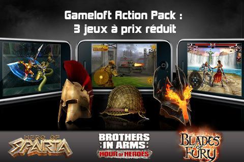 Gameloft Action Pack, 3 jeux pour 3.99 €...