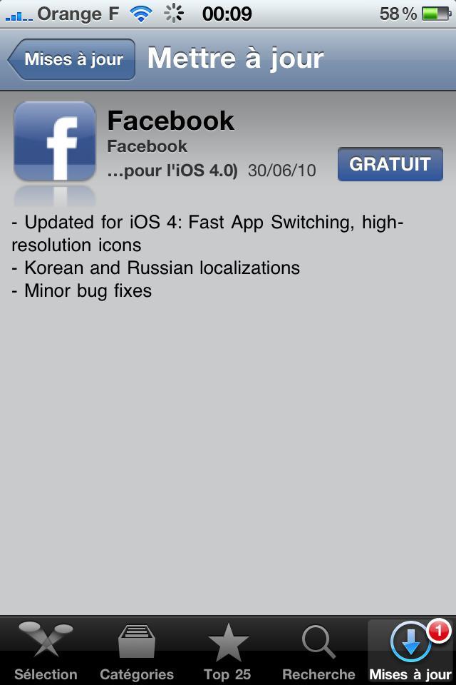 Màj : L'application Facebook devient compatible multitâche