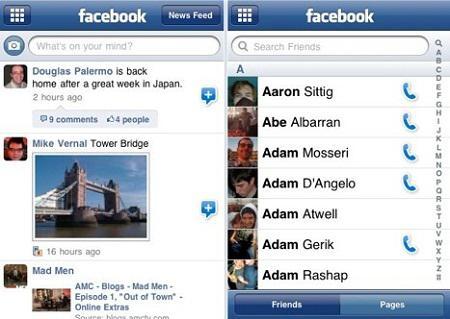 Facebook iPhone compatible iOS 4 et Retina Display