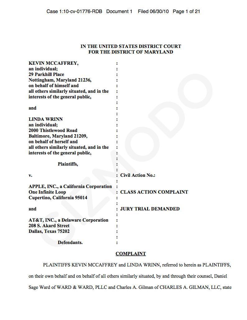 iPhone4: Une plainte déposée contre Apple
