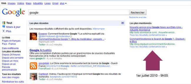 Une nouveauté Google ? Les plus mentionnés