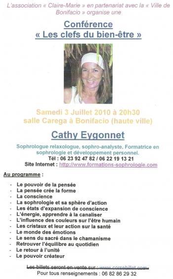Conférence de Cathy Eygonnet demain à Bonifacio.