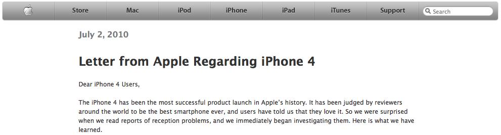 Communiqué de presse d'Apple pour les problèmes de réception de l'iPhone 4