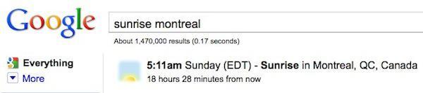 Google vous offre les heures de lever et coucher du soleil - Heure de lever et de coucher du soleil ...