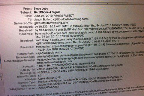 Les mails de Steve Jobs concernant les problèmes de réception seraient bien véridiques !