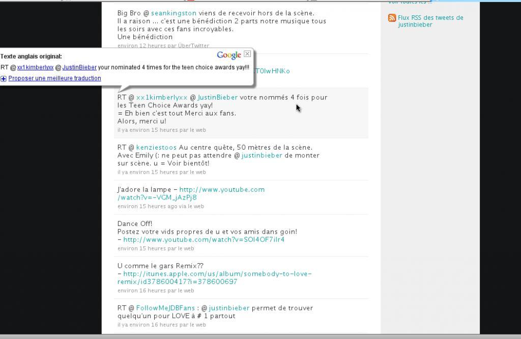 faille de securité google traduction avec la page twitter de justin bieber et youtube.