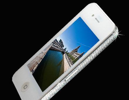iPhone 4 blanc de luxe avec diamants
